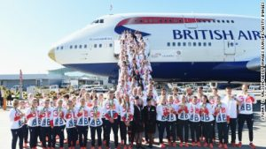 Team GB Olympic heroes touch down in gold-nosed jumbo jet