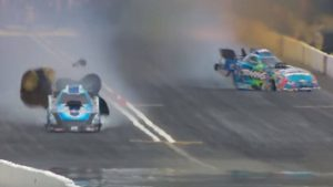 NHRA star Courtney Force escapes serious injury when Funny Car hits wall in Seattle