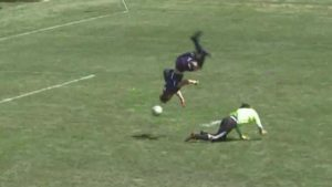 WATCH: High schooler sticks wild front flip before scoring a goal that didn't count