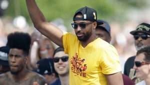 Thompson brings Larry O'Brien Trophy to Tim Hortons