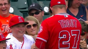 WATCH: Young Angels fan moved to tears after landing Mike Trout's autograph
