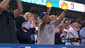 Dodgers fan celebrates Matt Moore's failed no-hit bid with double middle finger