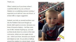 Fan writes touching thank you note to helpful Cardinals usher for being awesome