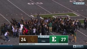 WATCH: Eastern Michigan students protest racist graffiti on football field after win