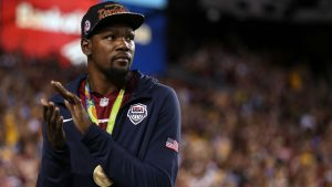 Teammates jokingly tell KD to hang up gold medal