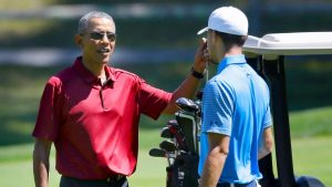 Michelle Obama tells Stephen Curry to trash-talk President Obama next time they golf