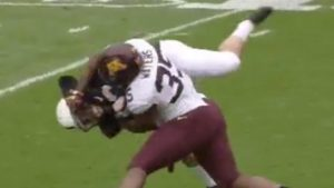 WATCH: Minnesota player gets ejected after cheap shot on Penn State's big kicker