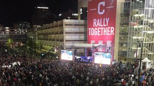 Fans swarm stadiums to form watch party for Cavs+ACYAIw-039+ADs ring night, Indians+ACYAIw-039+ADs World Series