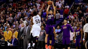 WATCH: Devin Booker hits an unreal shot over the backboard