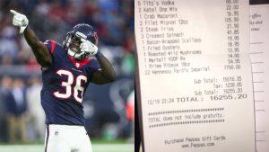 LOOK: Texans rookie orders $13 salad, gets stuck with $16K dinner bill