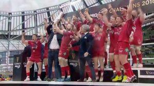Scarlets celebrate Pro12 final win over Munster