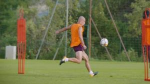 Pablo Zabaleta scores past Joe Hart in West Ham training