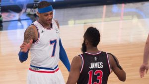 James Harden says Carmelo Anthony trade is 'out of his hands'