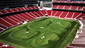 LOOK: The 49ers' stadium has been turned into a nine-hole golf course