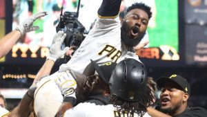 WATCH: Josh Harrison breaks up Rich Hill's no-hitter, years after dashing another