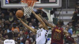 Giannis Antetokounmpo takes on LeBron James, but LeBron comes out on top