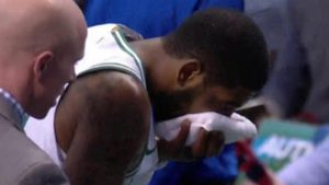 WATCH: Kyrie Irving exits game with bloody nose after elbow from Celtics teammate