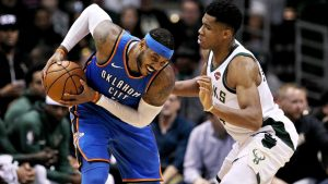 Melo a late scratch for Thunder with sore back