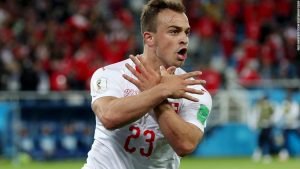 Swiss duo's goal celebration 'mixes sport and politics'