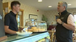 The waiter at Paul Lawrie's cafe who's qualified for The Open