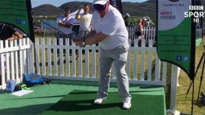 Irish Open: Celebrity golfers take up the blindfold challenge